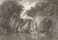 Paugla Pool from the River (1817) by Sir Charles D'Oyly. This bridge was known to be constructed in 1660 AD by Mir Jumla.