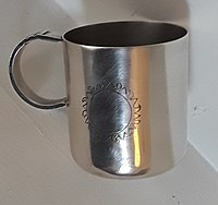 First day of issue promotional silver christening mug