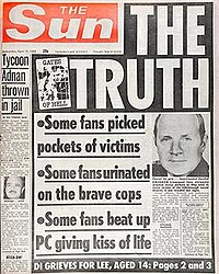 """The Sun front page on 19 April 1989. The allegations were later proven to be entirely false, with The Sun later admitting their decision to publish the allegations was the """"blackest day in this newspaper's history."""""""