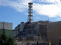 Chernobyl power plant in 2006 with the sarcophagus containment structure