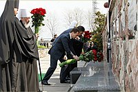 Russian president Dmitry Medvedev and Ukrainian president Viktor Yanukovych laying flowers at the memorial to the victims of the Chernobyl disaster in April 2011.