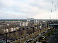 Pripyat lies abandoned with the Chernobyl facility visible in the distance