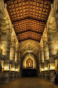 The nave of Sterling Memorial Library