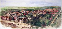 Richard Rummell's 1906 watercolor of the Yale campus, facing north