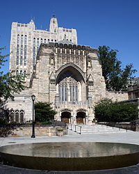 Yale University's Sterling Memorial Library, as seen from Maya Lin's sculpture, Women's Table. The sculpture records the number of women enrolled at Yale over its history; female undergraduates were not admitted until 1969.