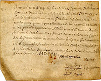 First diploma awarded by Yale College, granted to Nathaniel Chauncey, 1702