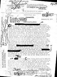 Confidential (here declassified and censored) letter by J. Edgar Hoover about FBI surveillance of John Lennon