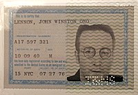 Lennon's green card, which allowed him to live and work in the United States
