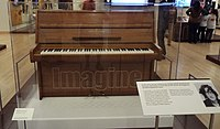 """The Steinway piano that Lennon used to compose the song """"Imagine"""" on exhibit in the Artist Gallery of the Musical Instrument Museum in Phoenix, Arizona"""