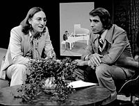 Publicity photo of Lennon and host Tom Snyder from the television programme Tomorrow. Aired in 1975, this was the last television interview Lennon gave before his death in 1980.