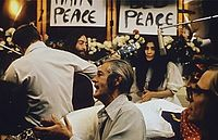 """Recording """"Give Peace a Chance"""" during the Bed-In for Peace at the Queen Elizabeth Hotel, Montreal"""