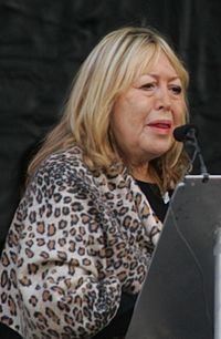Cynthia Lennon at the unveiling of the John Lennon Peace Monument in Liverpool in October 2010