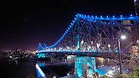 The 777-metre Story Bridge, completed in 1940, illuminated at night