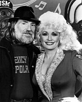 Nelson with Dolly Parton in 1985