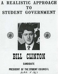 Clinton ran for president of the Student Council while attending the School of Foreign Service at Georgetown University.