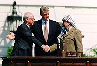 Yitzhak Rabin, Clinton and Yasser Arafat during the Oslo Accords on September 13, 1993
