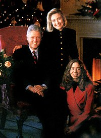 The Clintons in a White House Christmas portrait