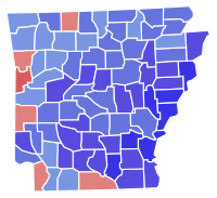Results of the 1978 Arkansas gubernatorial election. Clinton won the counties in blue.