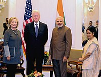 Clinton and Indian Prime Minister Narendra Modi in New York City on September 29, 2014