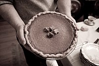 Pumpkin pie is commonly served on and around Thanksgiving in North America.