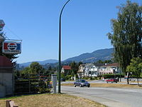 Keith Road looking west, with Hollyburn Mtn in the distance