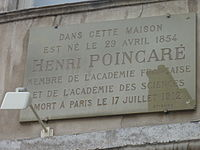 Plaque on the birthplace of Henri Poincaré at house number 117 on the Grande Rue in the city of Nancy