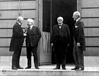 The Council of Four (from left to right): David Lloyd George, Vittorio Emanuele Orlando, Georges Clemenceau and Woodrow Wilson in Versailles