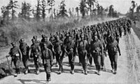 Russian troops marching to the front
