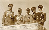 Military leaders of World War I: Alphonse Jacques de Dixmude (Belgium), Armando Diaz (Italy), Ferdinand Foch (France), John J. Pershing (United States), and David Beatty (United Kingdom)