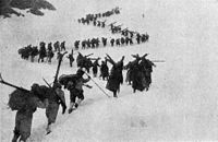 Alpini troops marching in the snow at 3,000 m altitude, 1917