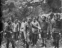 Colonel Christodoulou of the National Defence Army Corps interrogates Bulgarian prisoners, September 1918