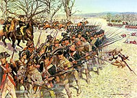 1st Maryland Regiment holding the line at the Battle of Guilford Courthouse in North Carolina, 1781