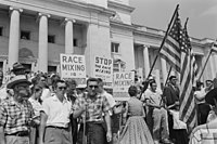 A rally against school integration in Little Rock, 1959.