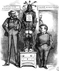 A cartoon from Harper's Weekly of December 21, 1878, features Philip Sheridan and Secretary of the Interior Carl Schurz