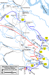 Sheridan's return to the Army of the Potomac from his Trevilian Station raid, including the Battle of Saint Mary's Church