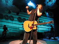 """Goo Goo Dolls perform their song """"Before It's Too Late"""" from the OST of the 2007 film Transformers at the Tweeter Center in Mansfield, Massachusetts, on July 22, 2007."""