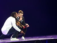 Justin Timberlake performing on his 20/20 Experience Tour in Charlotte, North Carolina
