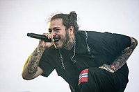 Post Malone performing on the main stage at Stavernfestivalen in 2018