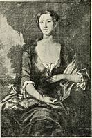 Catherine Winthrop Sargent married 1744 as the second wife of Col. Epes Sargent, from a portrait by Smybert which is in the Museum of Fine Arts, Boston.