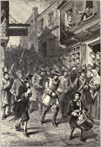 Engraving depicting the arrest of Sir Edmund Andros in 1689