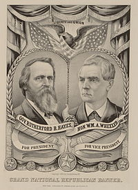"""Original Currier & Ives campaign poster depicting the Hayes-Wheeler ticket, the last and rarest in the firm's """"Grand National Banner"""" series"""