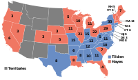 Results of the 1876 election, with states won by Hayes in red, and those won by Tilden in blue
