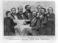 Currier & Ives lithograph of the Hayes cabinet in 1877