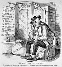 A political cartoon from 1882, criticizing Chinese exclusion