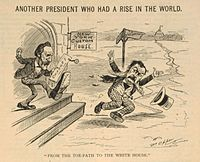 A cartoon of Hayes kicking Chester A. Arthur out of the New York Custom House