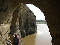 Buddhist caves, which have been carved into a set of cliffs on the north side of the Kabul river