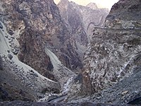 Gorge of the Kabul River, parallel to the Kabul-Jalalabad Road