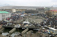 The dried river in the central city of Kabul