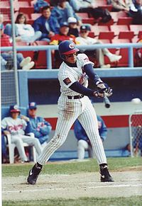 Rodriguez batting for the Calgary Cannons in 1994