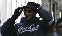 Alex Rodriguez during the 2009 World Series parade.